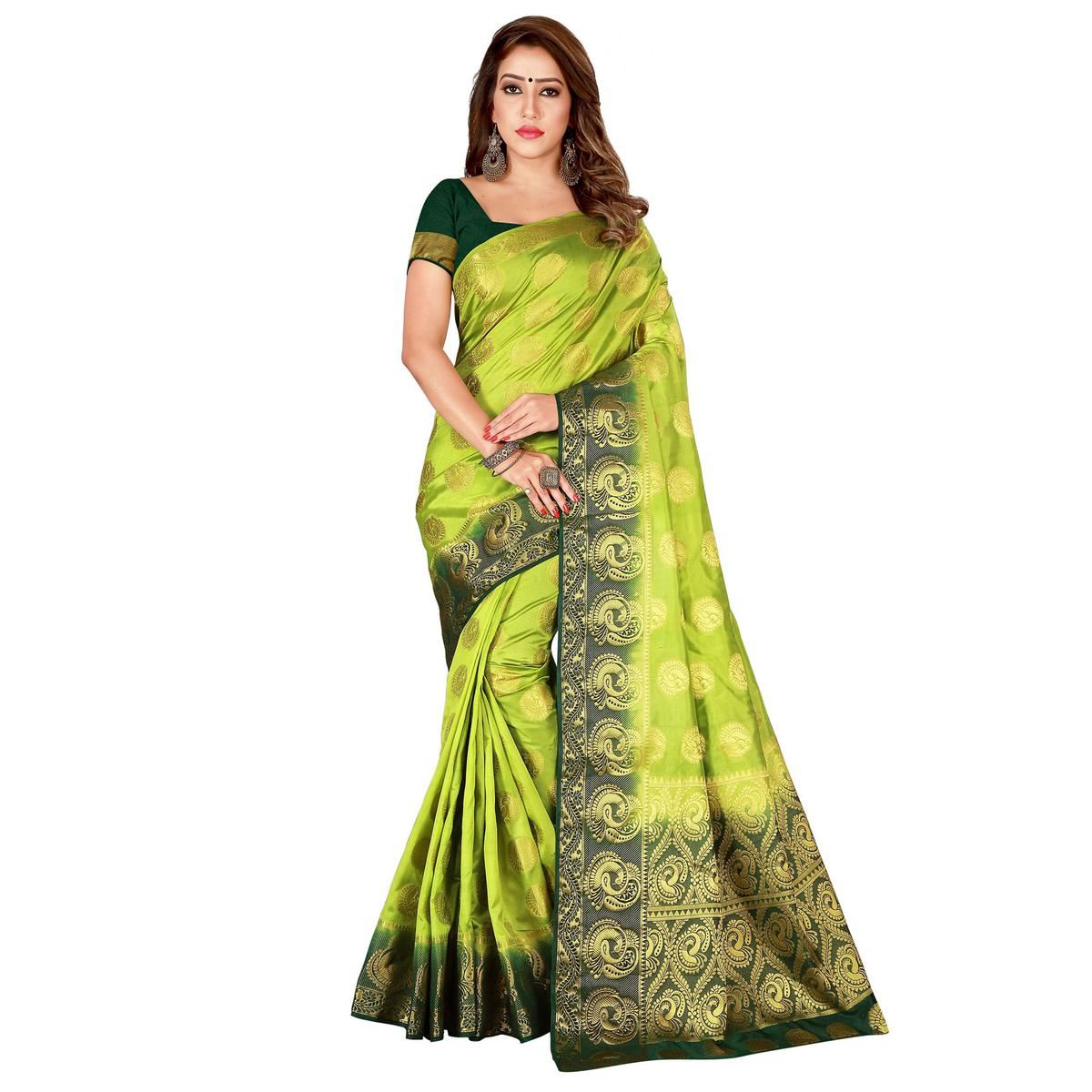 Intricate Pista Green Colored Festive Wear Woven Cotton Silk Saree