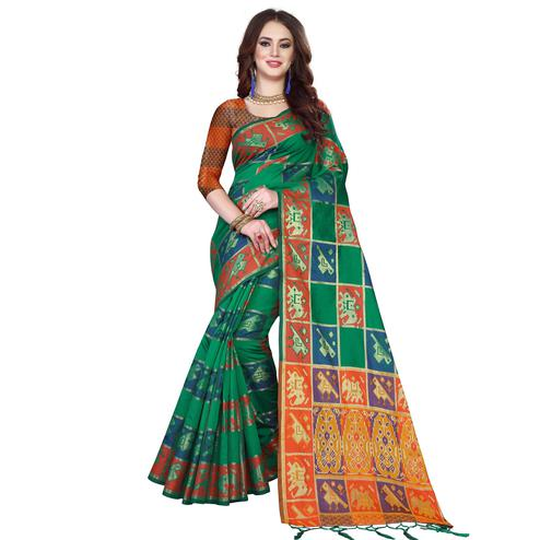 Exotic Green Colored Festive Wear Woven Silk Saree