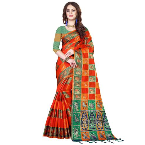 Sophisticated Orange Colored Festive Wear Woven Silk Saree