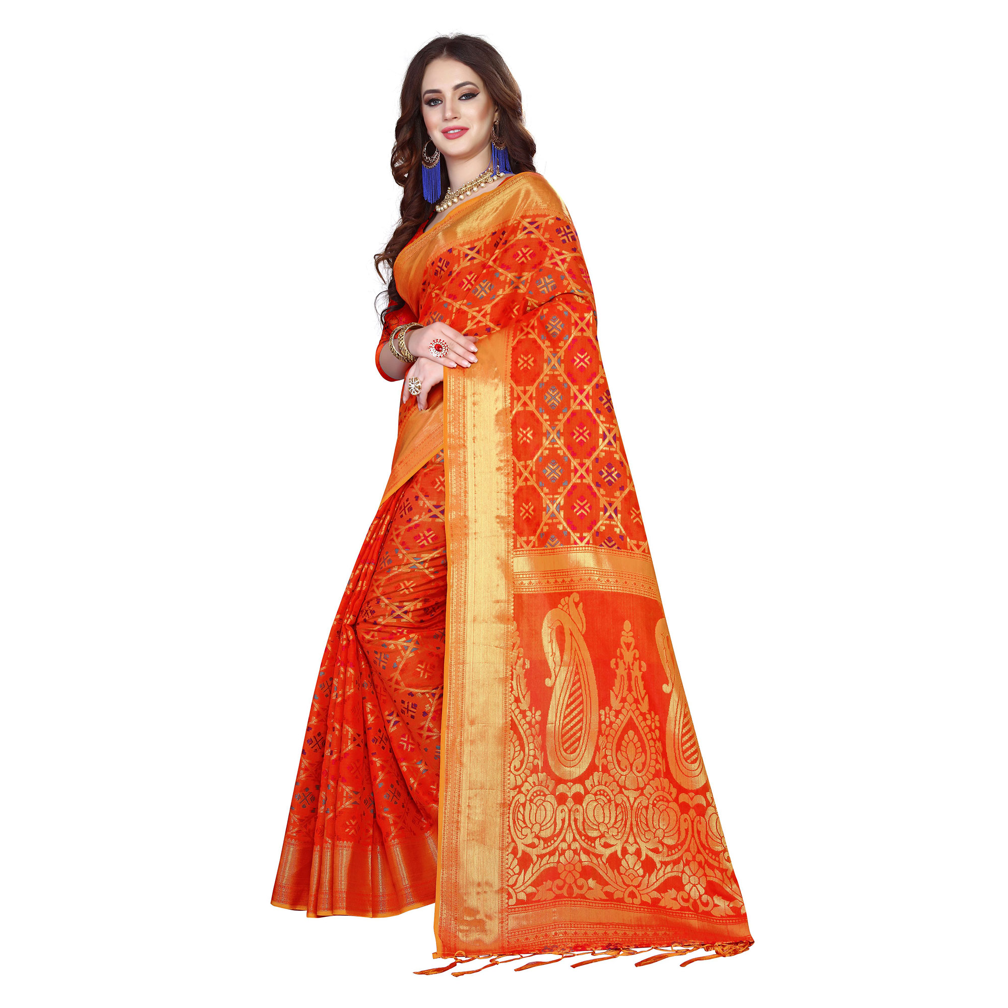 Radiant Orange Colored Festive Wear Woven Silk Saree