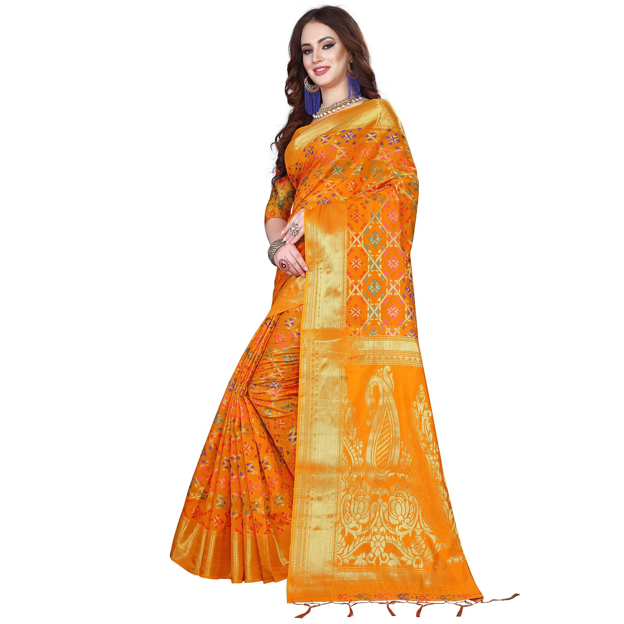 Opulent Yellow Colored Festive Wear Woven Silk Saree