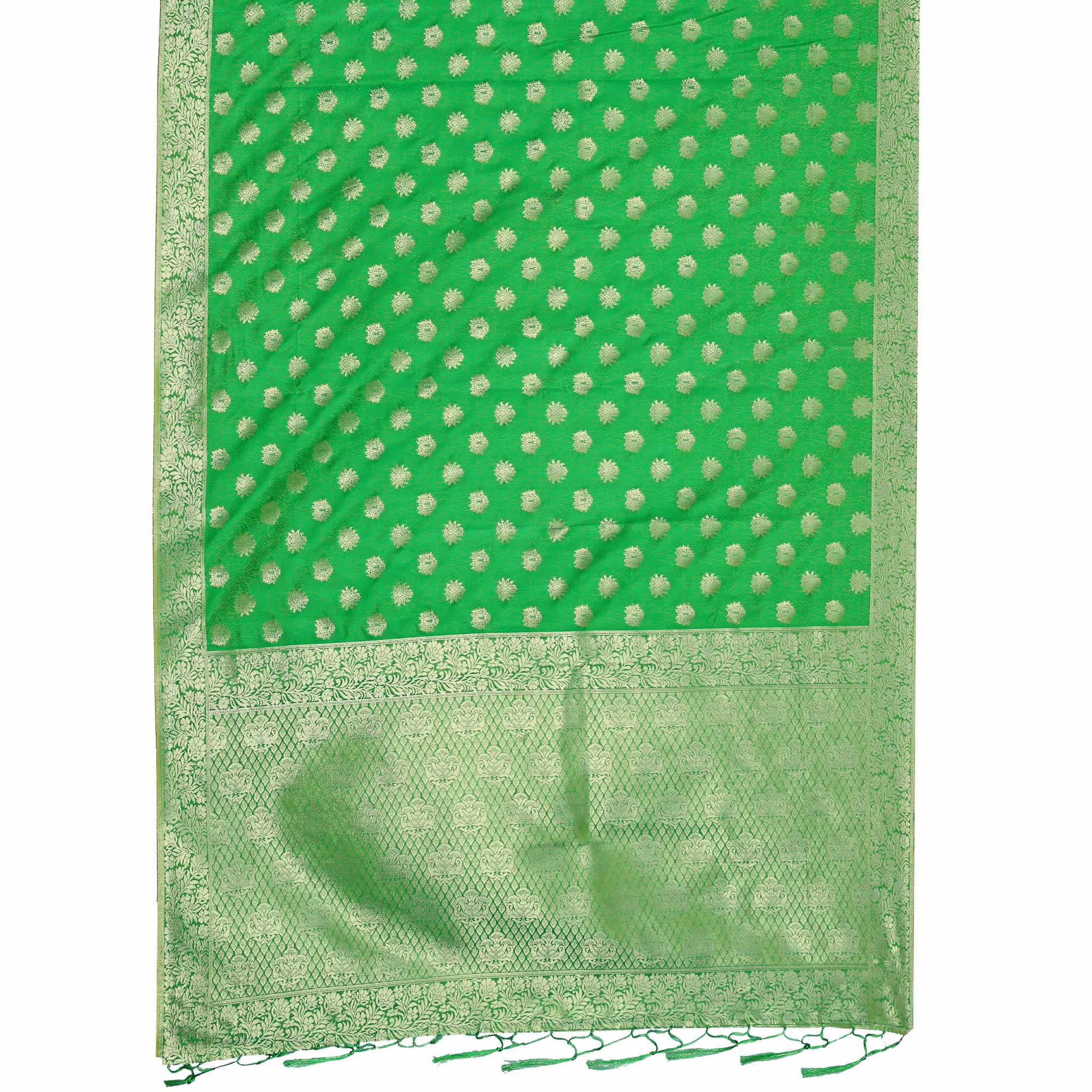 Energetic Green Colored Festive Wear Woven Art Silk Saree