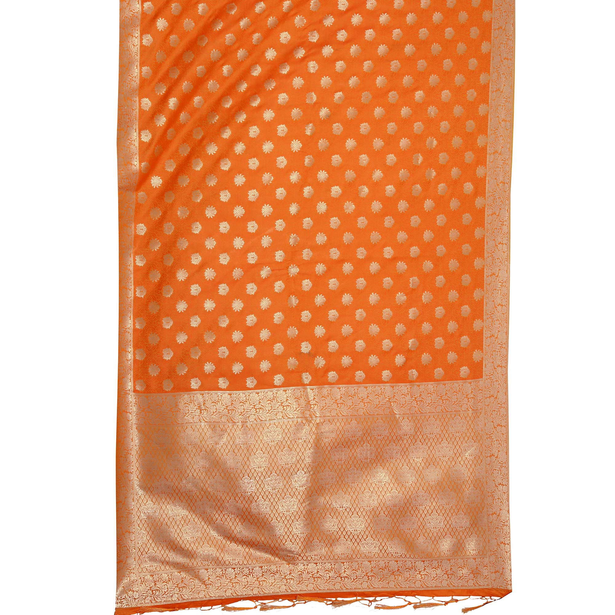 Glowing Orange Colored Festive Wear Woven Art Silk Saree