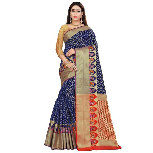 Mesmeric Navy Blue Colored Festive Wear Woven Silk Saree