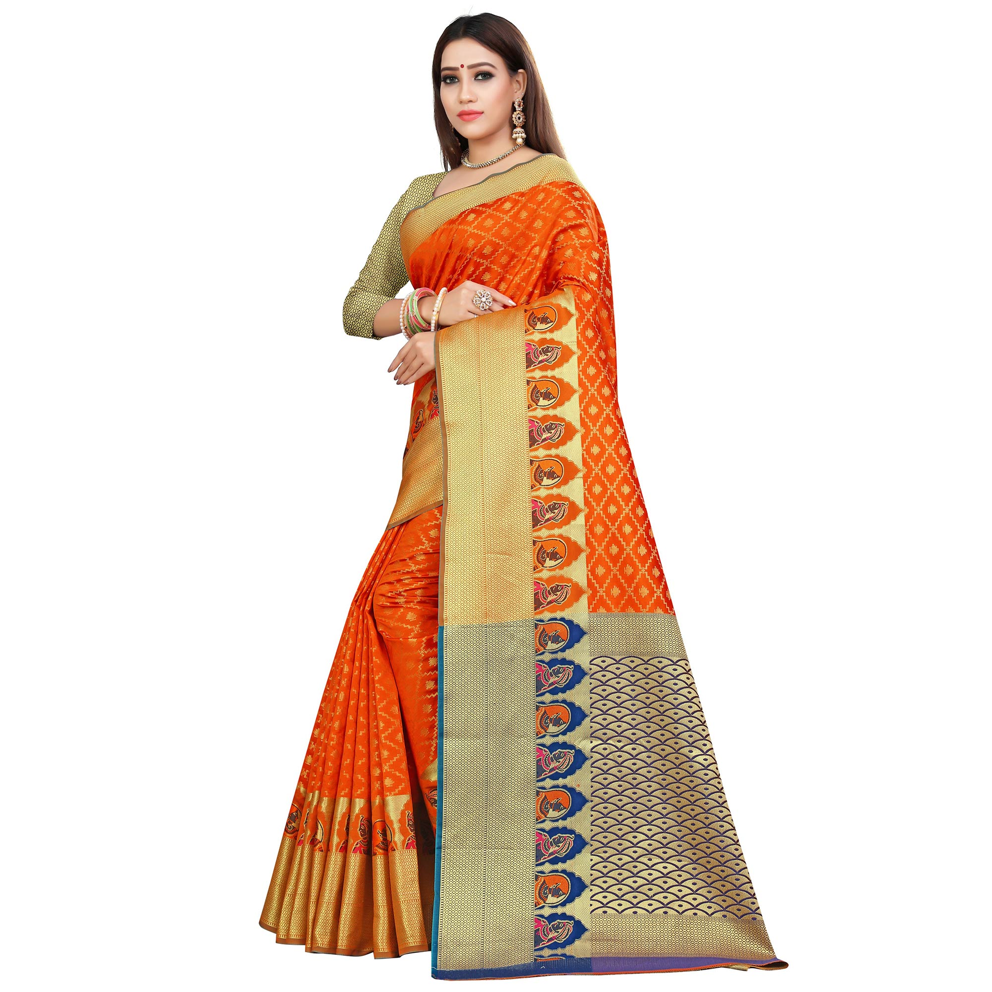 Unique Orange Colored Festive Wear Woven Silk Saree