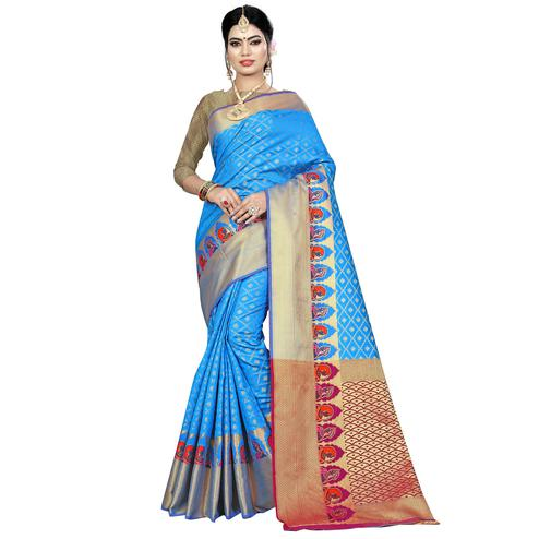 Hypnotic Firozi Colored Festive Wear Woven Silk Saree