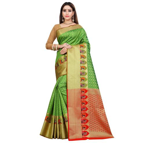 Demanding Light Green Colored Festive Wear Woven Silk Saree