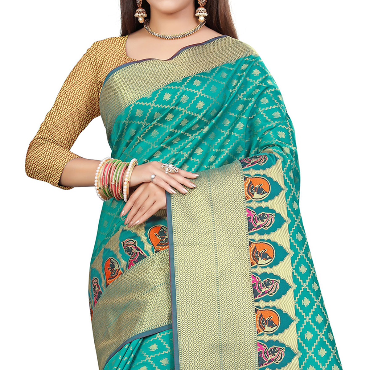 Magnetic Rama Blue Colored Festive Wear Woven Silk Saree