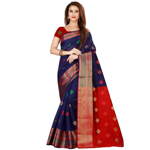 Preferable Navy Blue Colored Festive Wear Woven Art Silk Saree