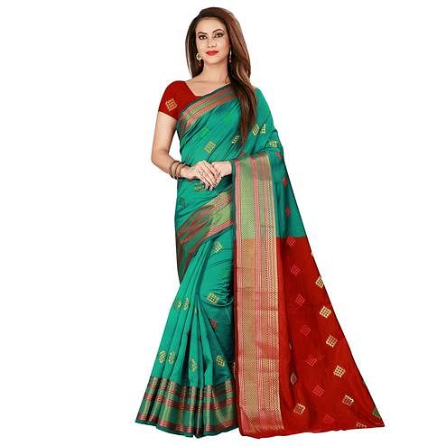 Marvellous Turquoise Green Colored Festive Wear Woven Art Silk Saree