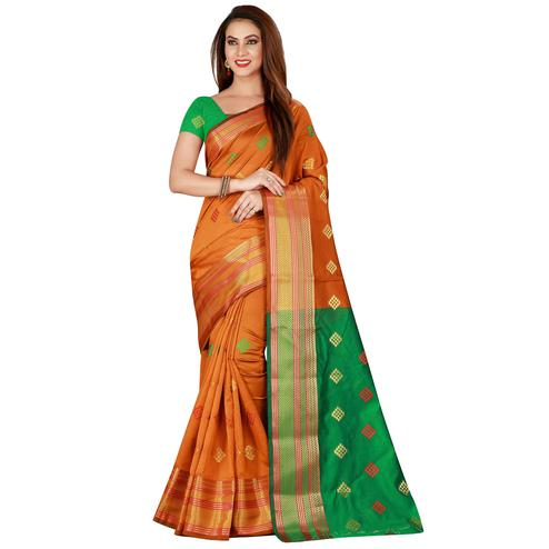 Flamboyant Mustard Yellow Colored Festive Wear Woven Art Silk Saree