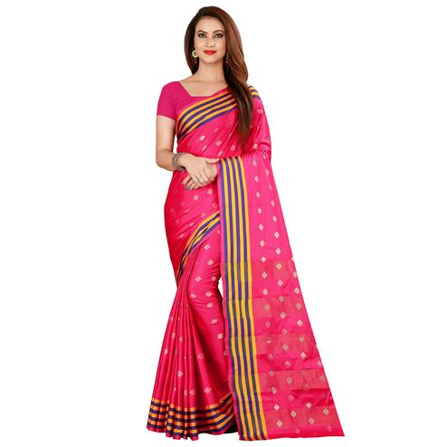 Pretty Pink Colored Festive Wear Woven Art Silk Saree