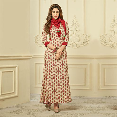 Classy Beige - Red Designer Style Printed Rayon Kurti