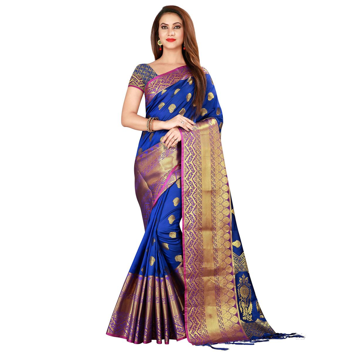 Sensational Blue Colored Festive Wear Woven Banarasi Silk Saree