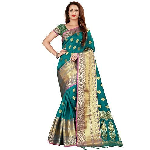 Flaunt Turquoise Green Colored Festive Wear Woven Banarasi Silk Saree