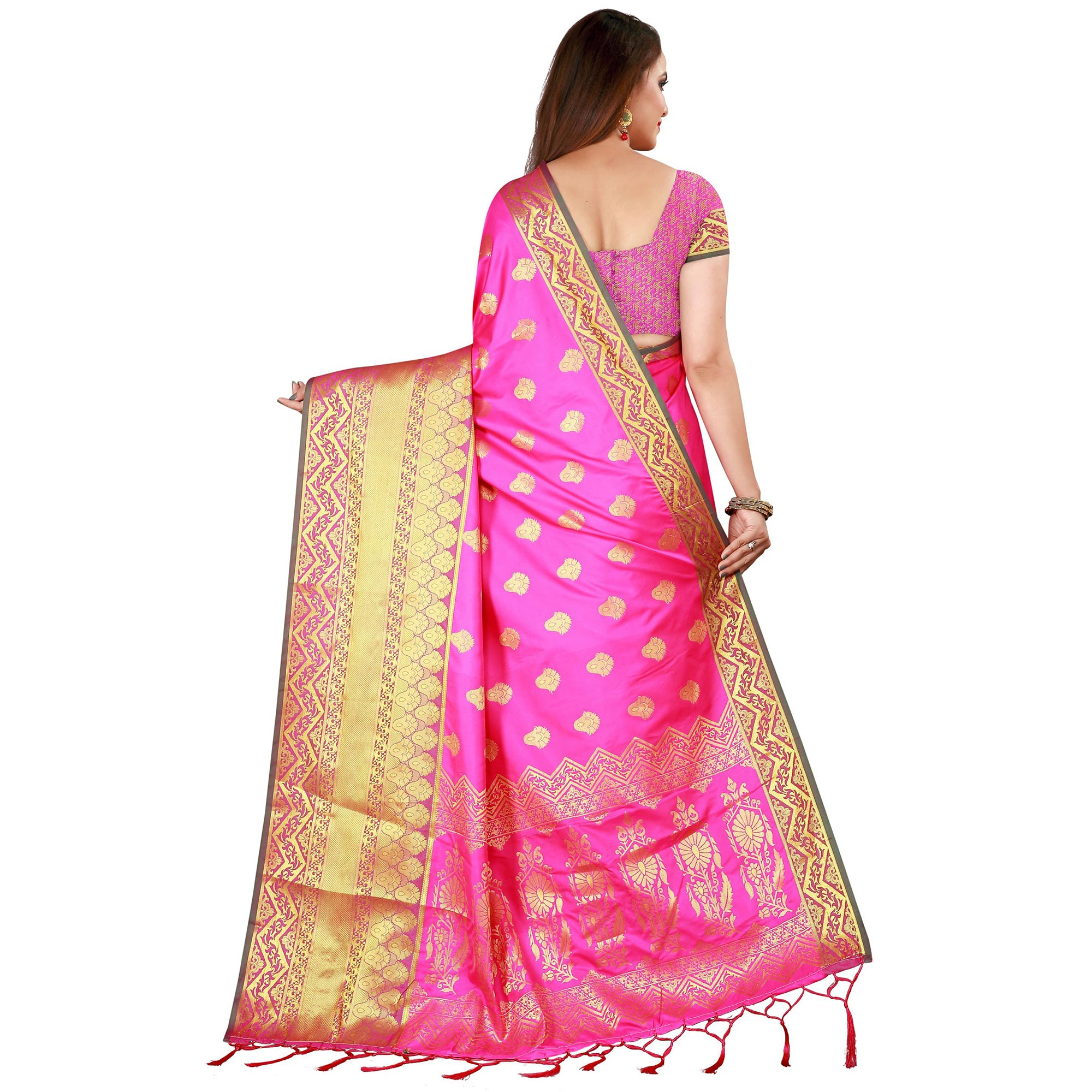 Stunning Pink Colored Festive Wear Woven Banarasi Silk Saree
