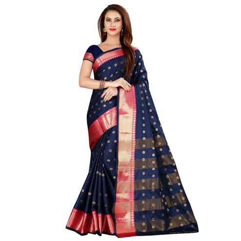 Flirty Navy Blue Colored Festive Wear Woven Cotton Silk Saree