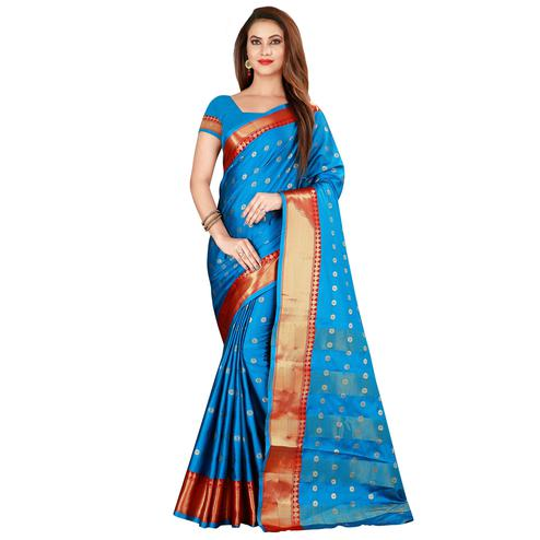 Arresting Firozi Colored Festive Wear Woven Cotton Silk Saree