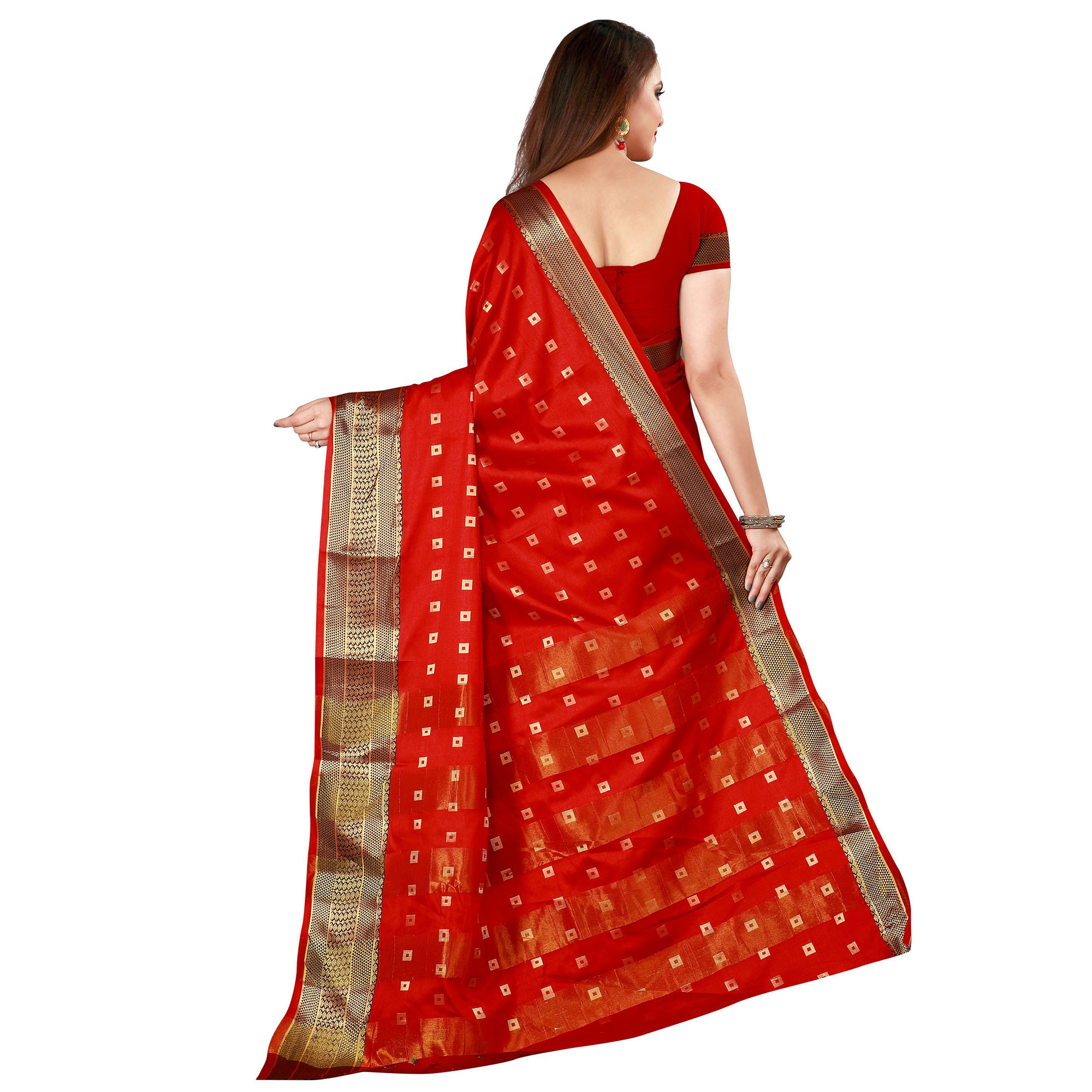 Flattering Red Colored Festive Wear Woven Cotton Silk Saree