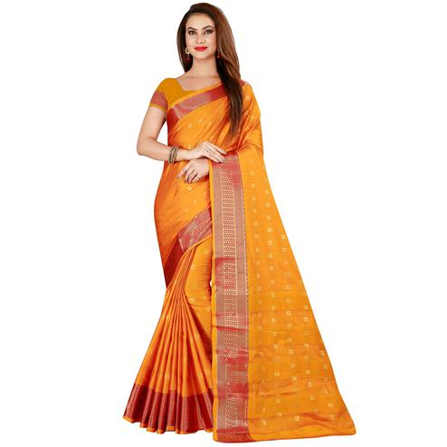 Ravishing Yellow Colored Festive Wear Woven Cotton Silk Saree