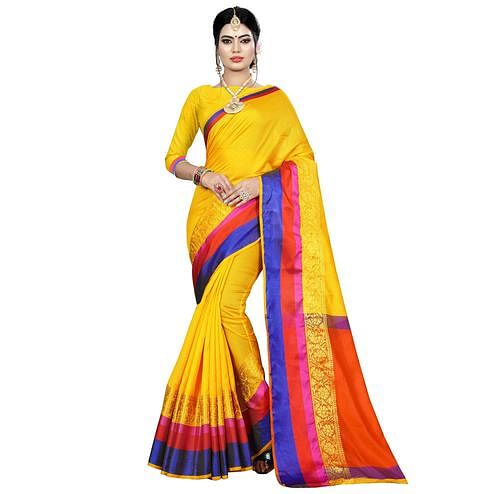 Surpassing Yellow Colored Festive Wear Woven Art Silk Saree