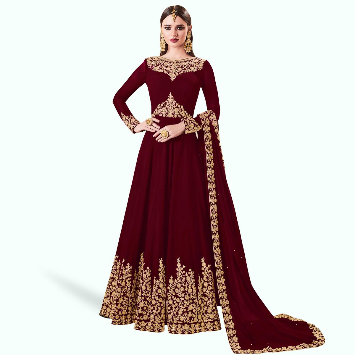 Capricious Maroon Colored Partywear Embroidered Abaya Style Georgette Anarkali Suit