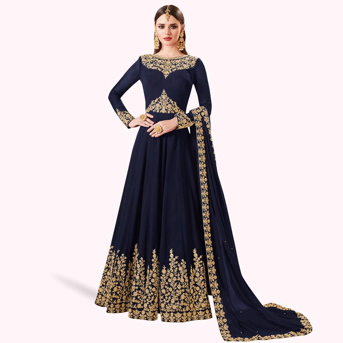 Exotic Navy Blue Colored Partywear Embroidered Abaya Style Georgette Anarkali Suit