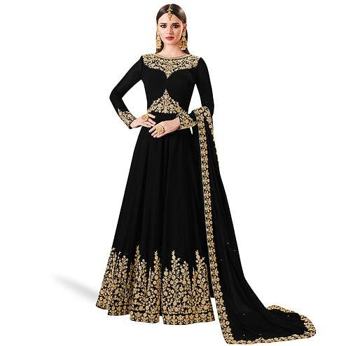 Entrancing Black Colored Partywear Embroidered Abaya Style Georgette Anarkali Suit