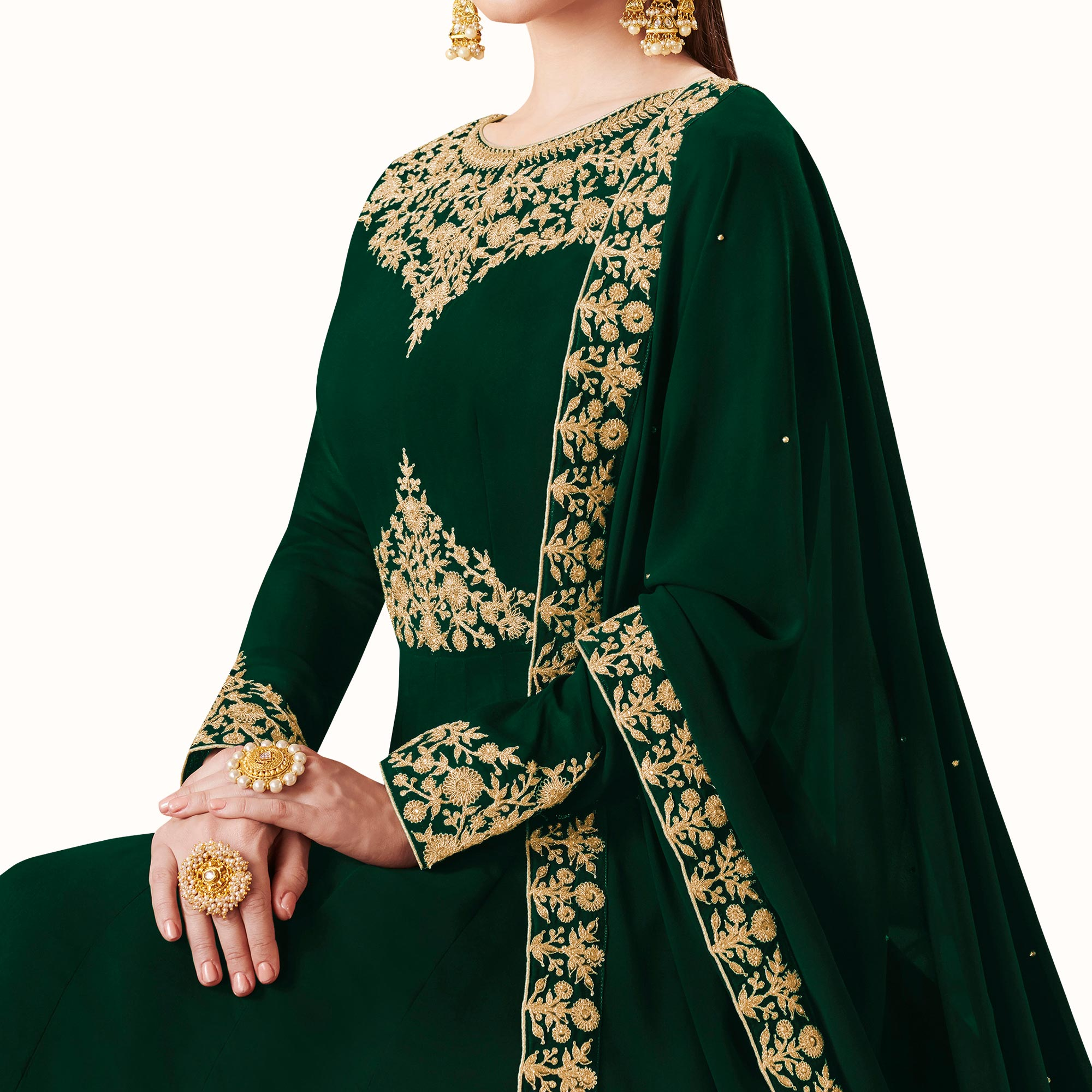 Energetic Green Colored Partywear Embroidered Abaya Style Georgette Anarkali Suit