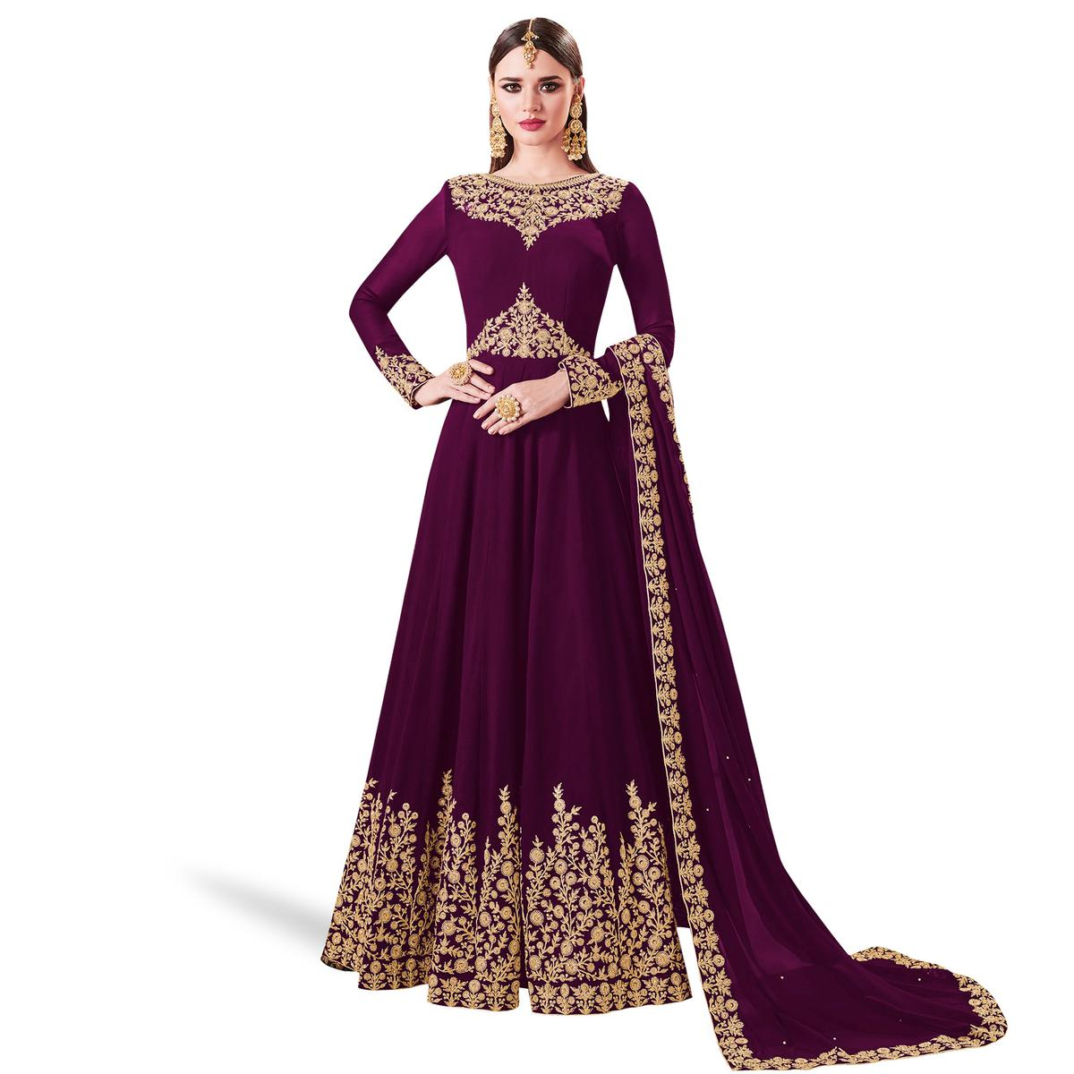 Exceptional Purple Colored Partywear Embroidered Abaya Style Georgette Anarkali Suit