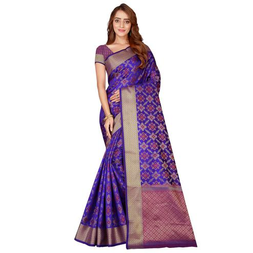 Adorable Blue Colored festive Wear silk Saree