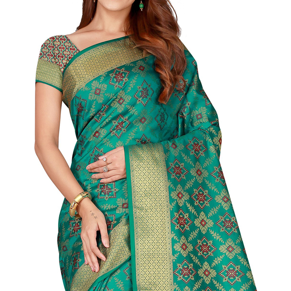 Glorious Turquoise Green Colored festive Wear silk Saree