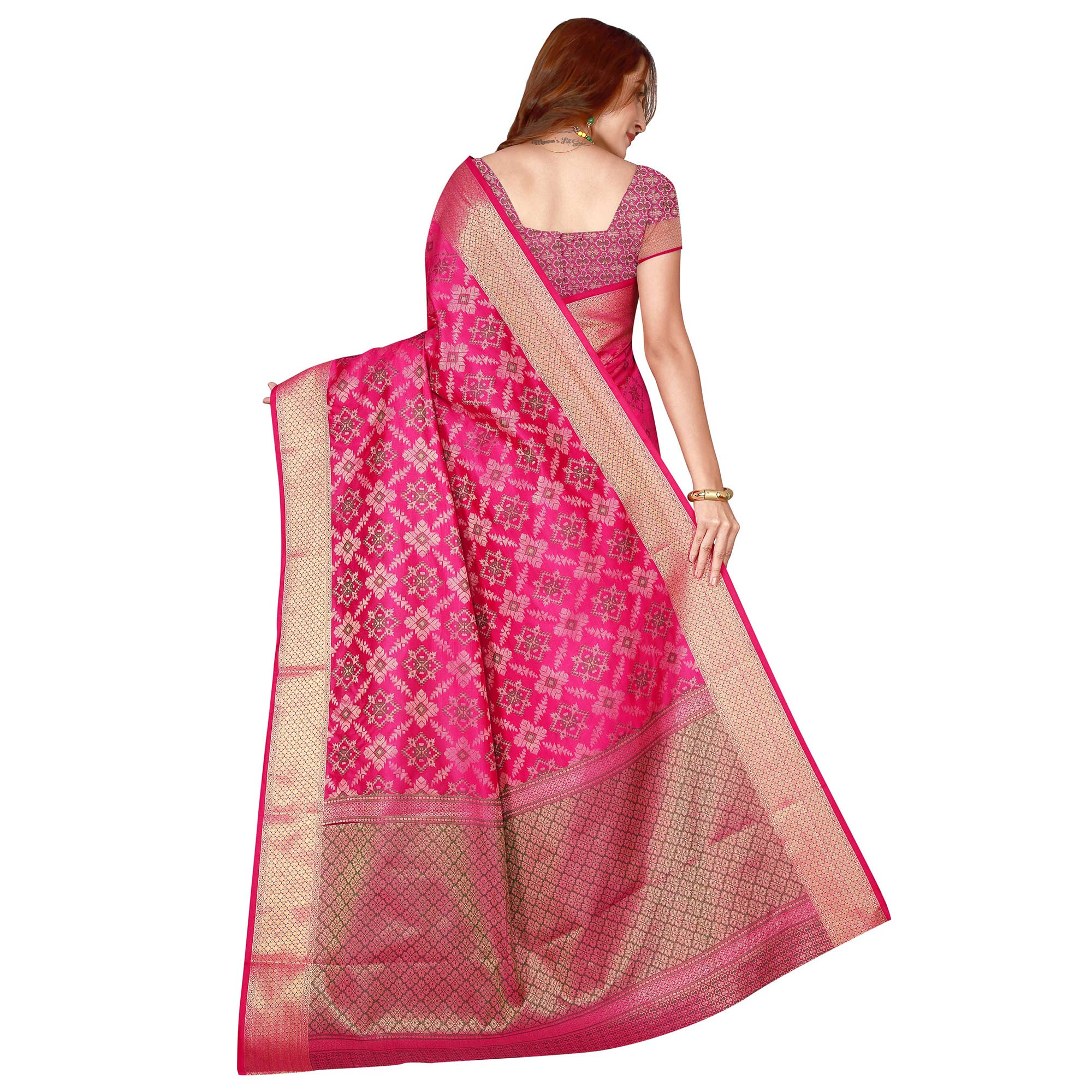 Attractive Pink Color festive Wear silk Saree