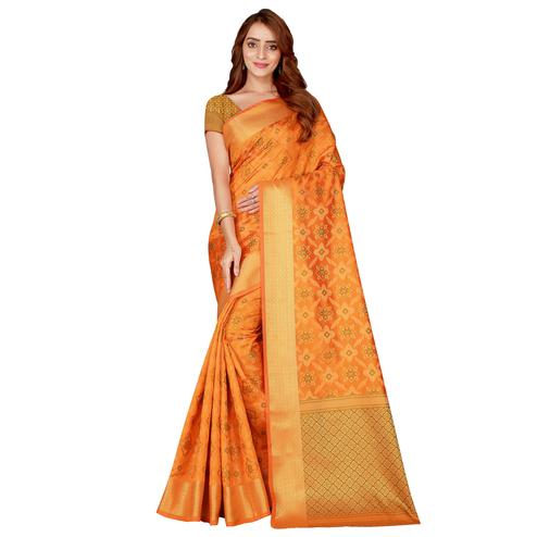 Beautiful Yellow Colored festive Wear silk Saree