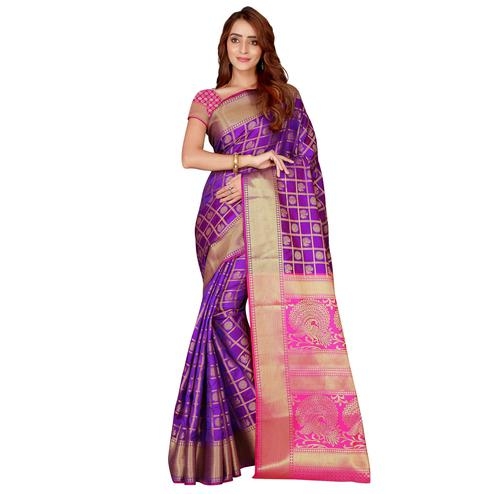 Graceful Purple Colored festive Wear silk Saree
