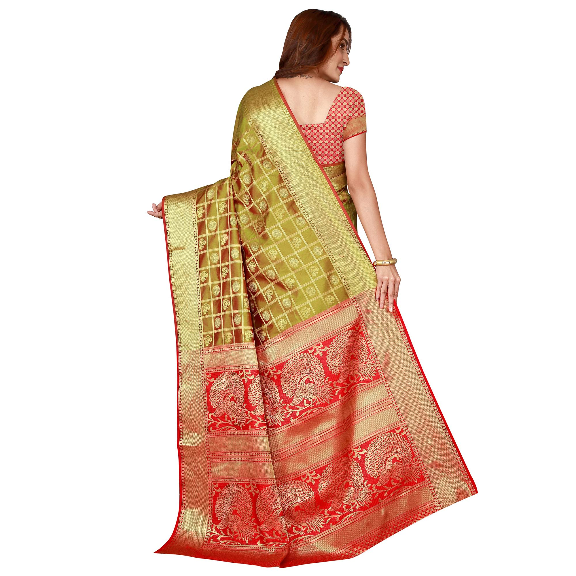 Charming Light Green Colored festive Wear silk Saree