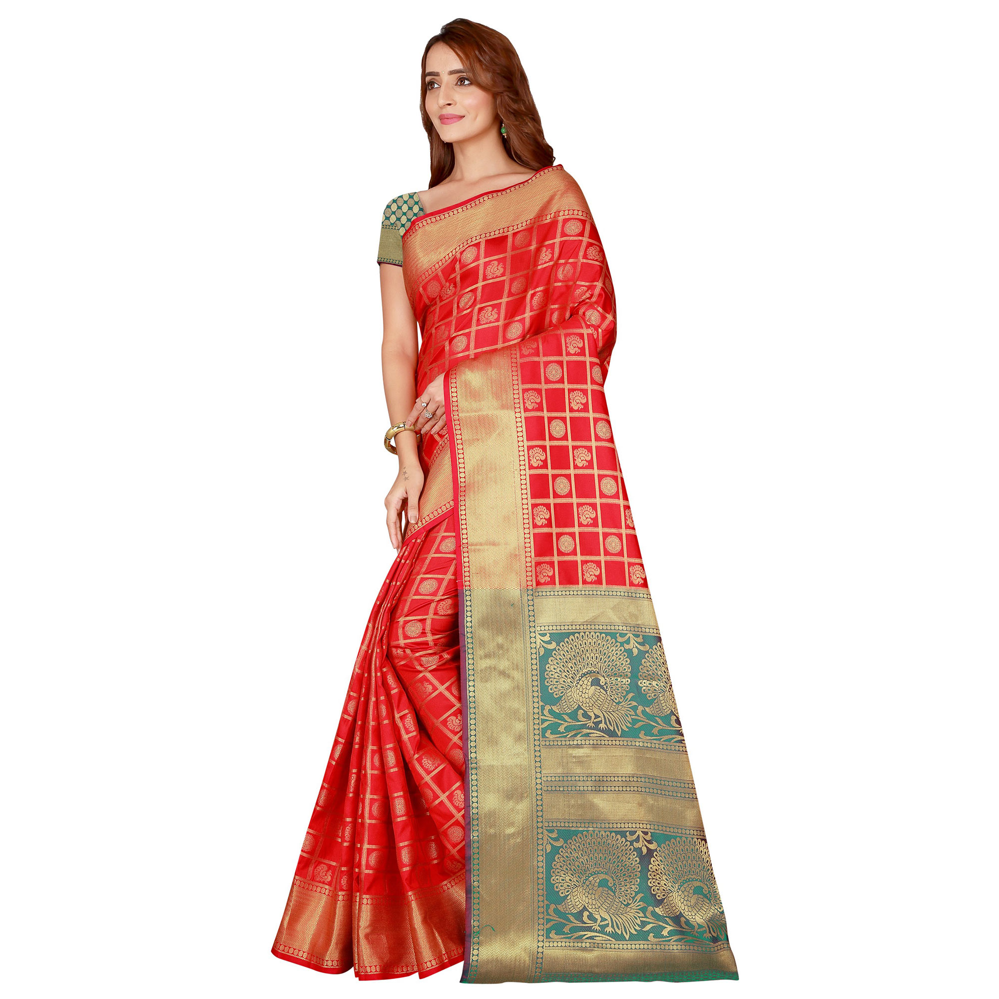 Jazzy Red Colored festive Wear silk Saree