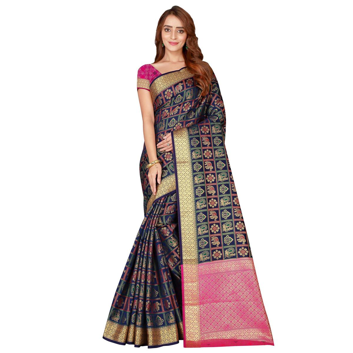 Delightful Navy Blue Colored festive Wear silk Saree