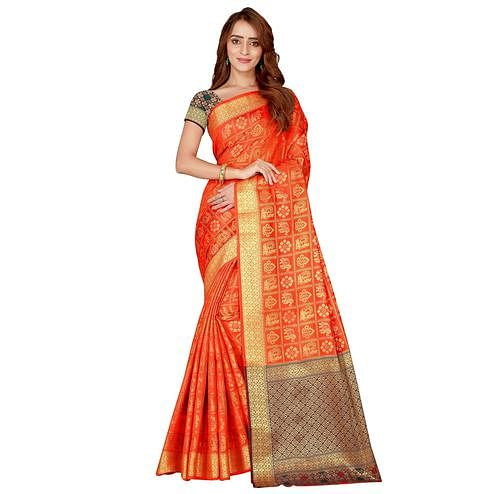 Captivating Orange Colored festive Wear silk Saree