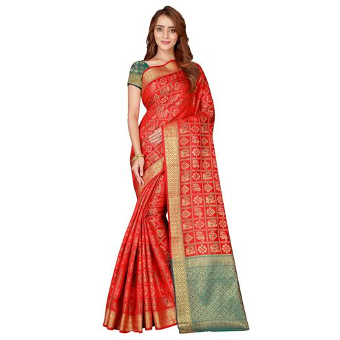 Innovative Red Colored festive Wear silk Saree