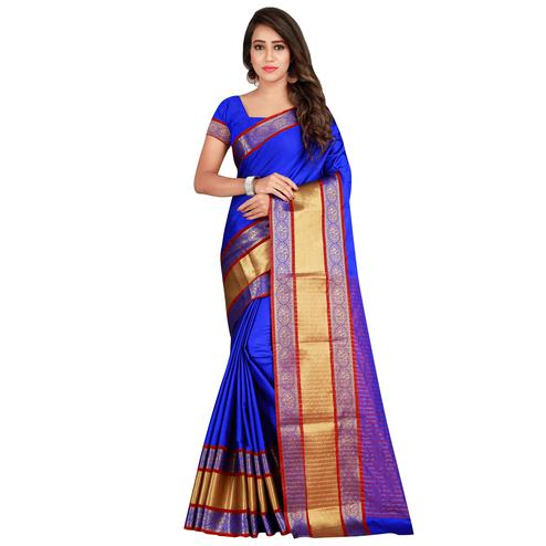 Eye-catching Royal Blue Colored festive Wear Cotton Silk Saree