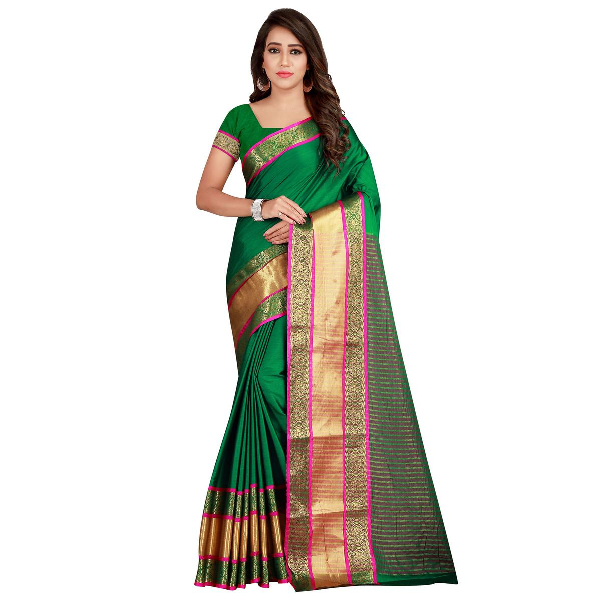 Fantastic Dark Green Colored festive Wear Cotton Silk Saree