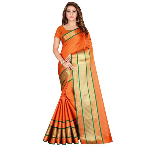 Amazing Orange Colored festive Wear Cotton Silk Saree