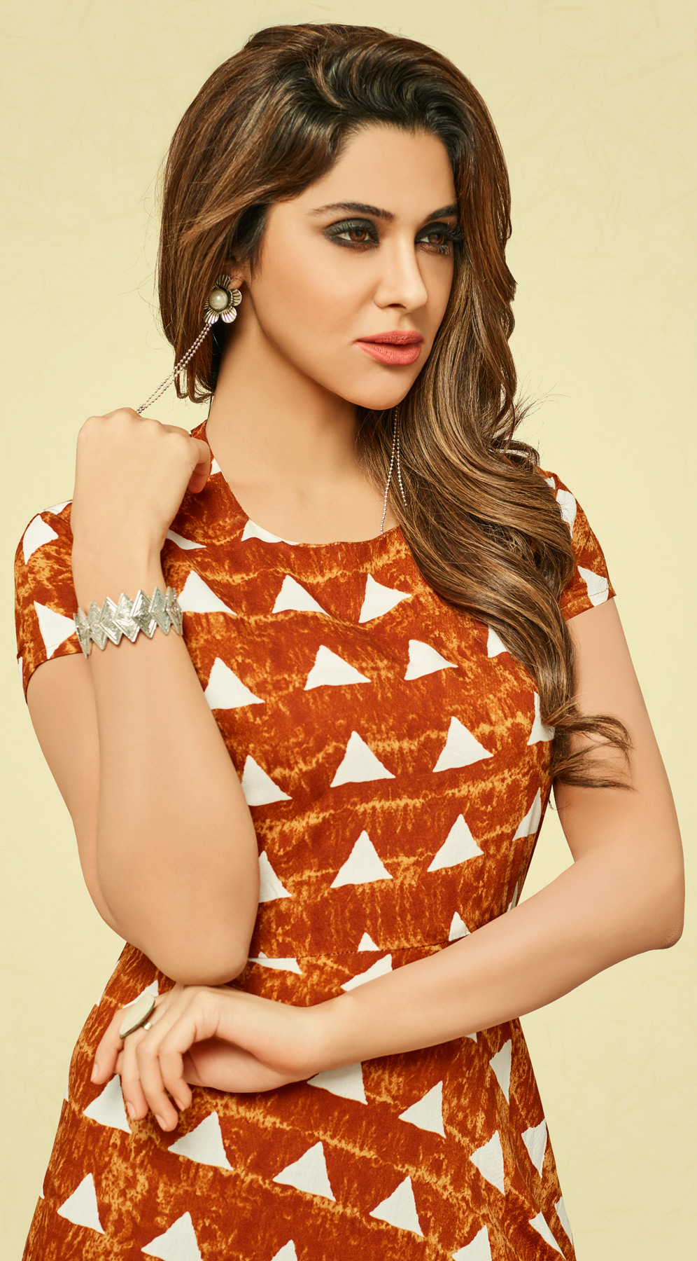 Trendy Orange Long Length Printed Rayon Kurti