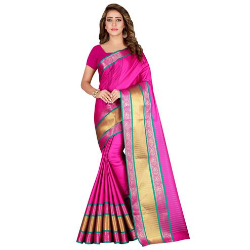 Gorgeous Pink Colored festive Wear Cotton Silk Saree