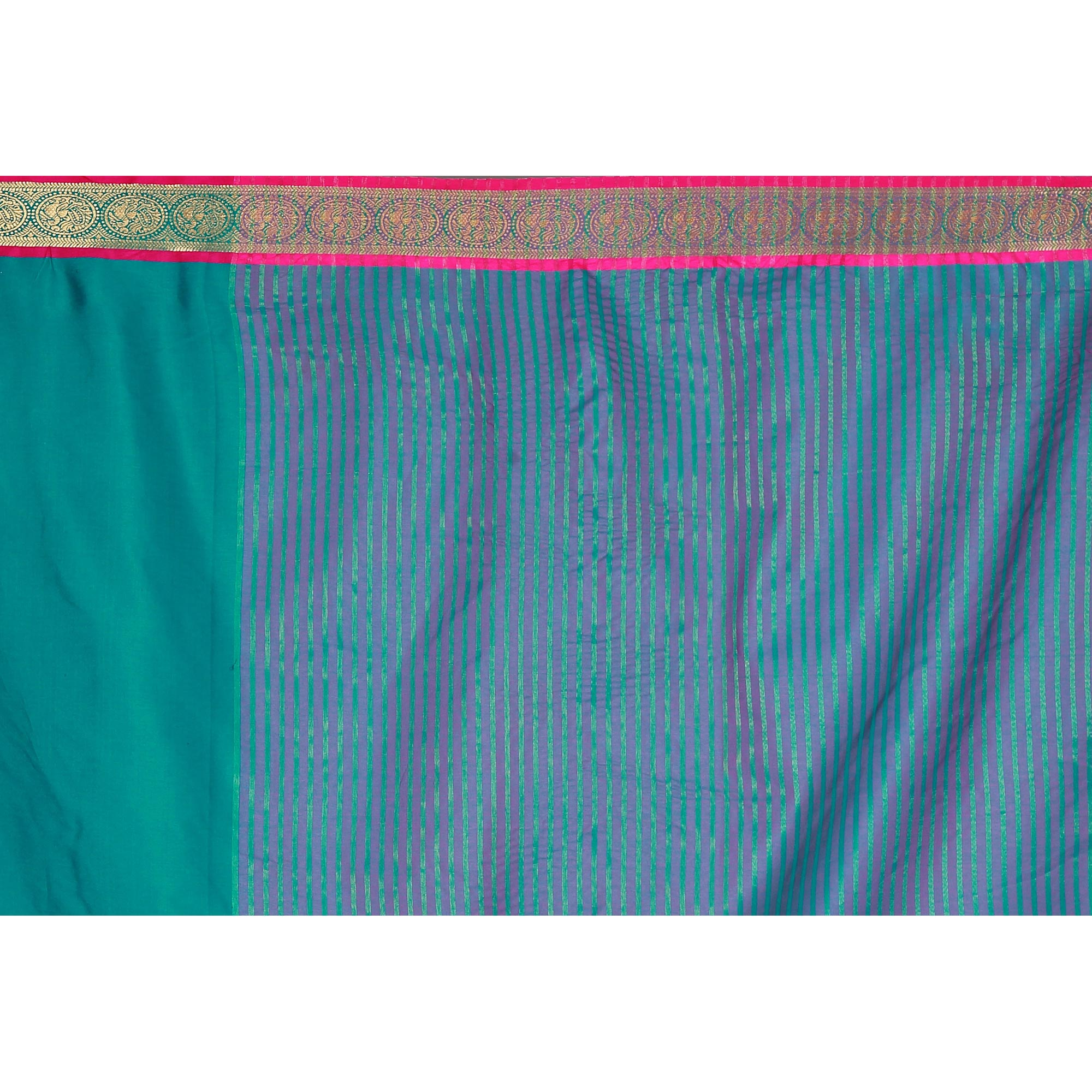 Ideal Turquoise Green Colored festive Wear Cotton Silk Saree