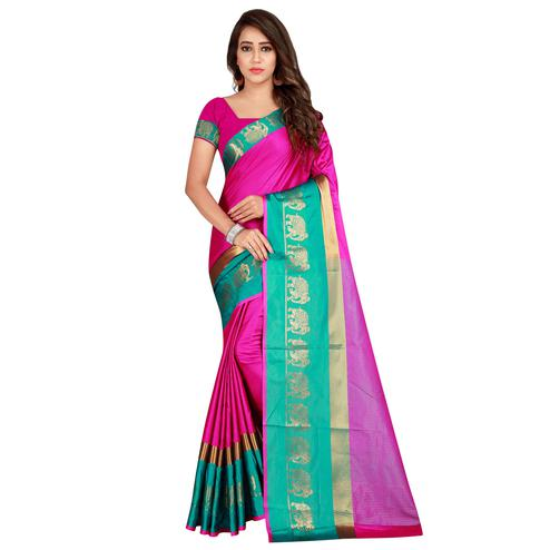 Imposing Pink Color festive Wear Cotton Silk Saree