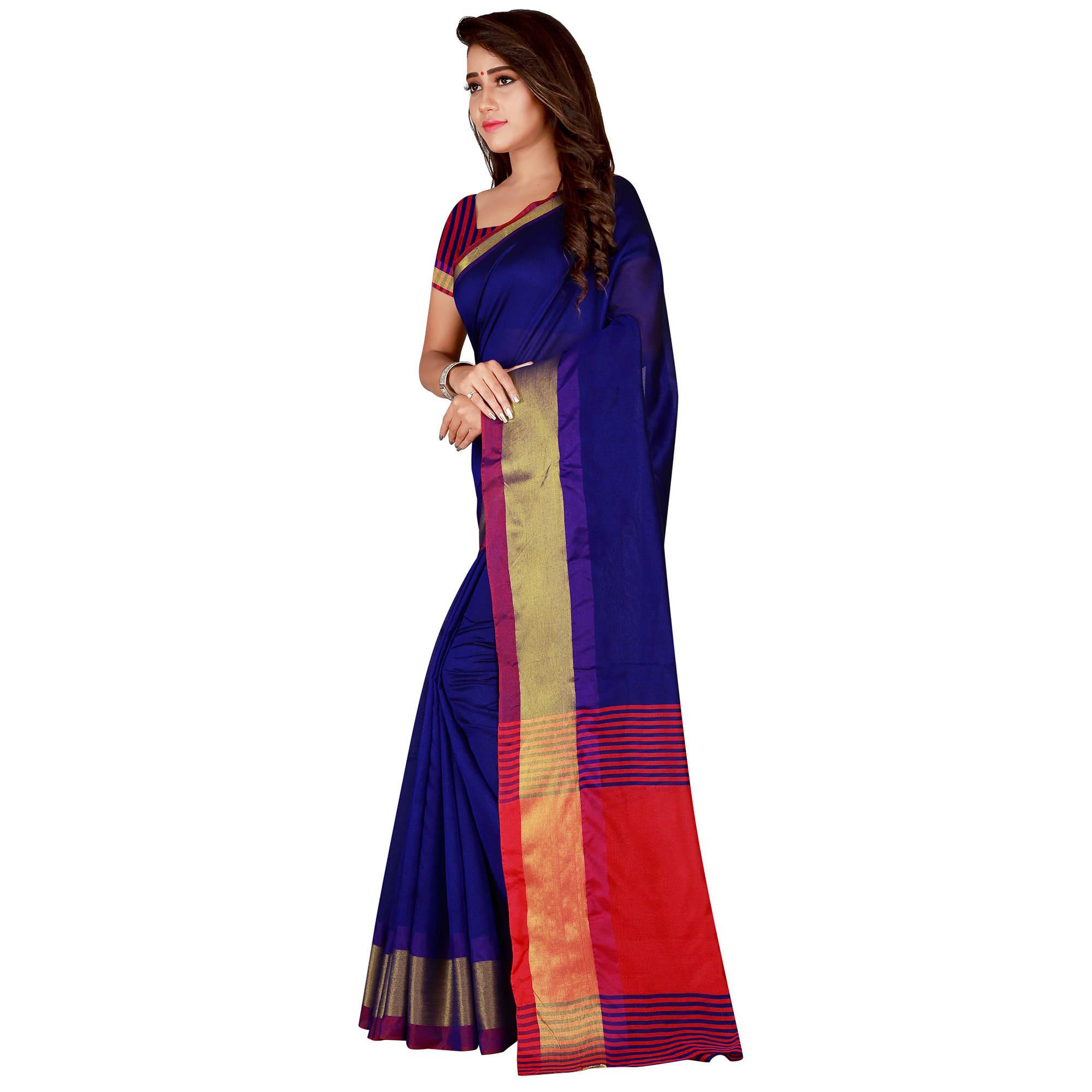 Impressive Navy Blue Colored festive Wear Cotton Silk Saree