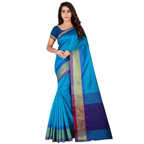 Mesmerising Firozi Colored festive Wear Cotton Silk Saree