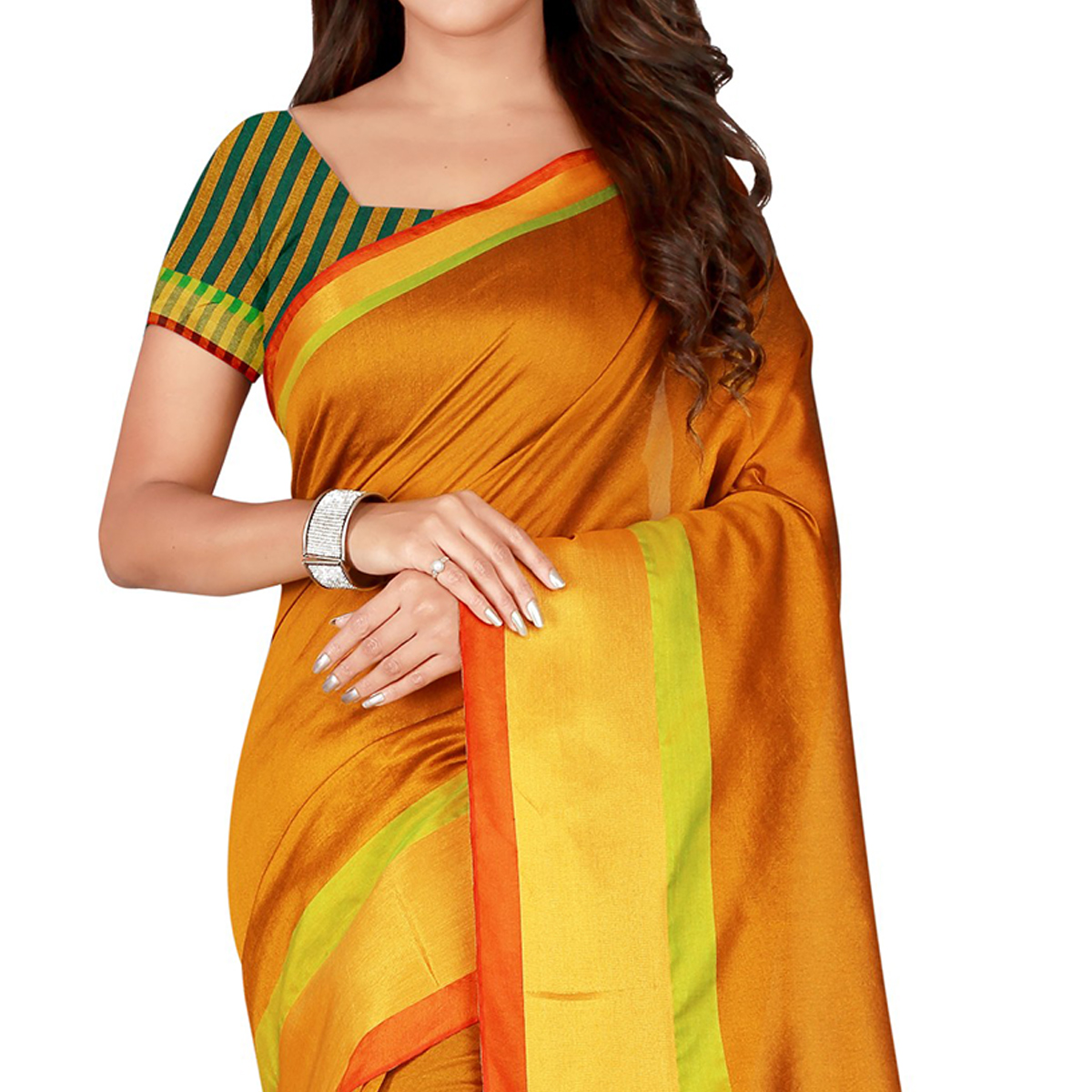 Pleasance Gold Colored festive Wear Cotton Silk Saree